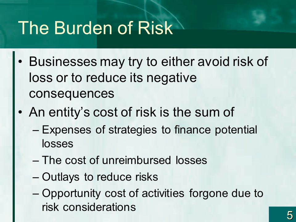 5 The Burden of Risk Businesses may try to either avoid risk of loss or to reduce its negative consequences An entitys cost of risk is the sum of –Expenses of strategies to finance potential losses –The cost of unreimbursed losses –Outlays to reduce risks –Opportunity cost of activities forgone due to risk considerations