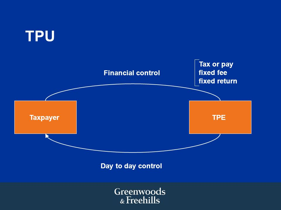 TPU TaxpayerTPE Financial control Day to day control Tax or pay fixed fee fixed return