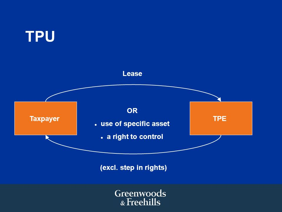 TPU TaxpayerTPE Lease (excl. step in rights) OR use of specific asset a right to control