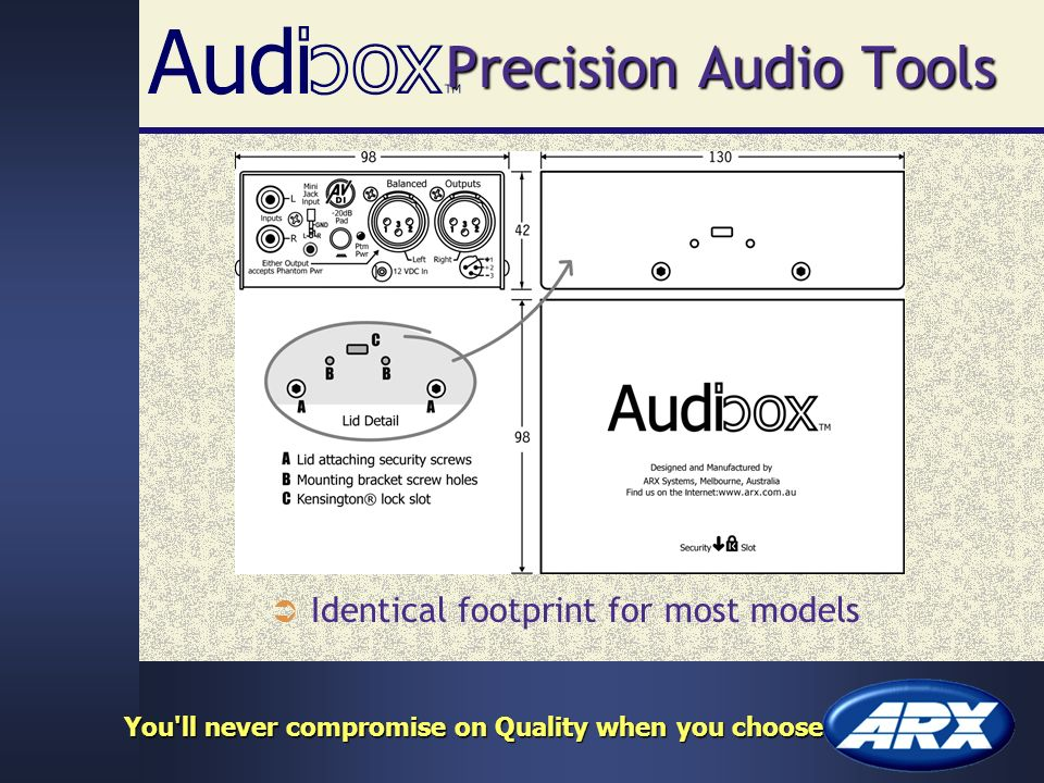 Precision Audio Tools Identical footprint for most models You ll never compromise on Quality when you choose