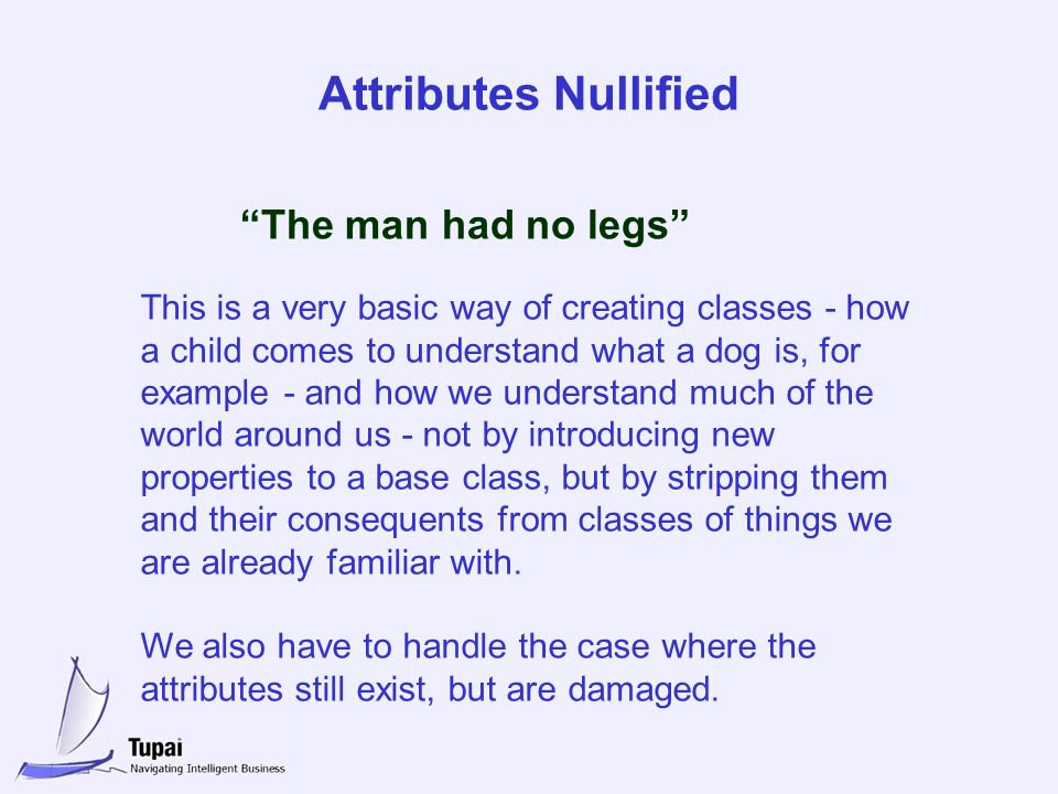 Attributes Nullified The man had no legs This is a very basic way of creating classes - how a child comes to understand what a dog is, for example - and how we understand much of the world around us - not by introducing new properties to a base class, but by stripping them and their consequents from classes of things we are already familiar with.