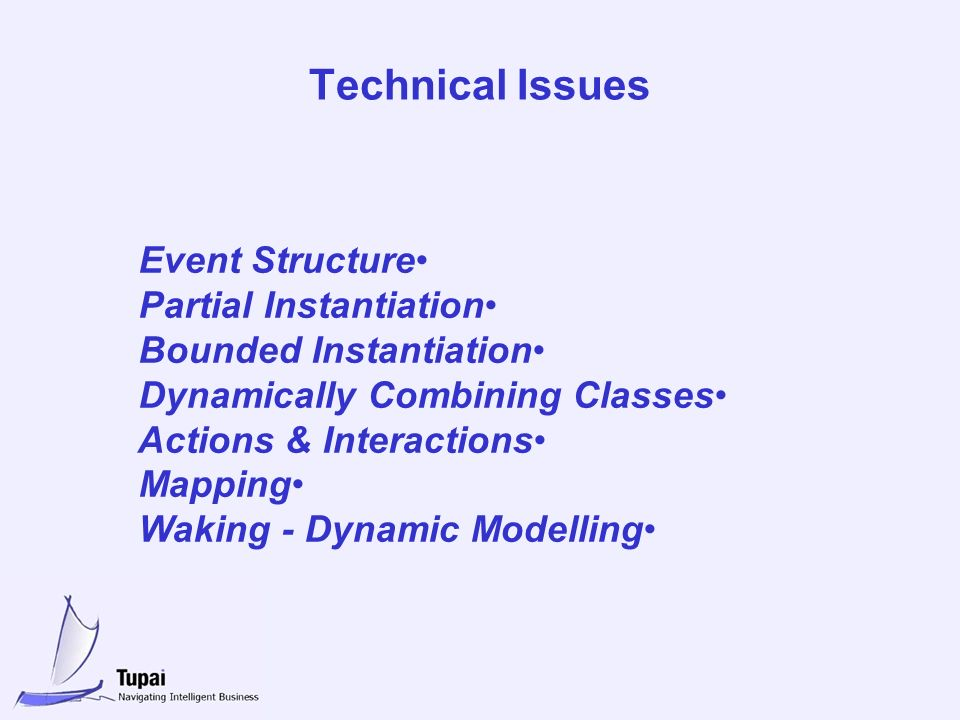 Technical Issues Event Structure Partial Instantiation Bounded Instantiation Dynamically Combining Classes Actions & Interactions Mapping Waking - Dynamic Modelling