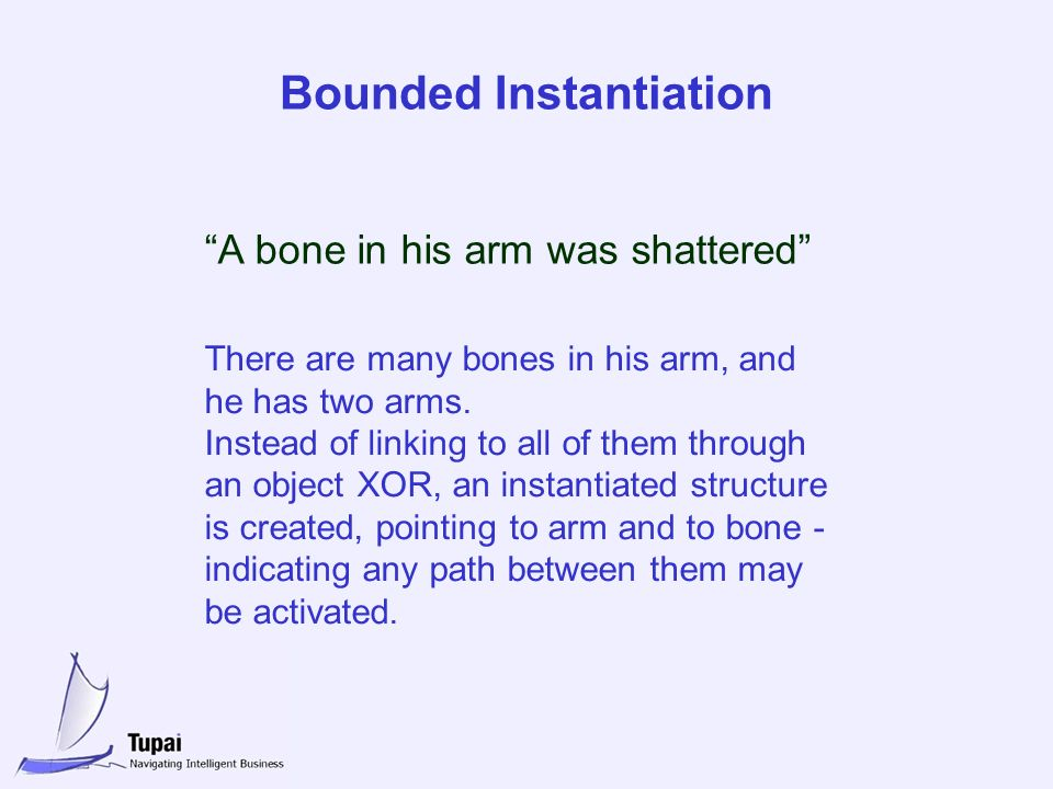 Bounded Instantiation A bone in his arm was shattered There are many bones in his arm, and he has two arms.