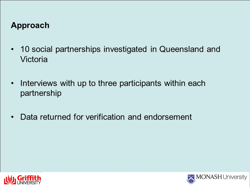 Approach 10 social partnerships investigated in Queensland and Victoria Interviews with up to three participants within each partnership Data returned for verification and endorsement