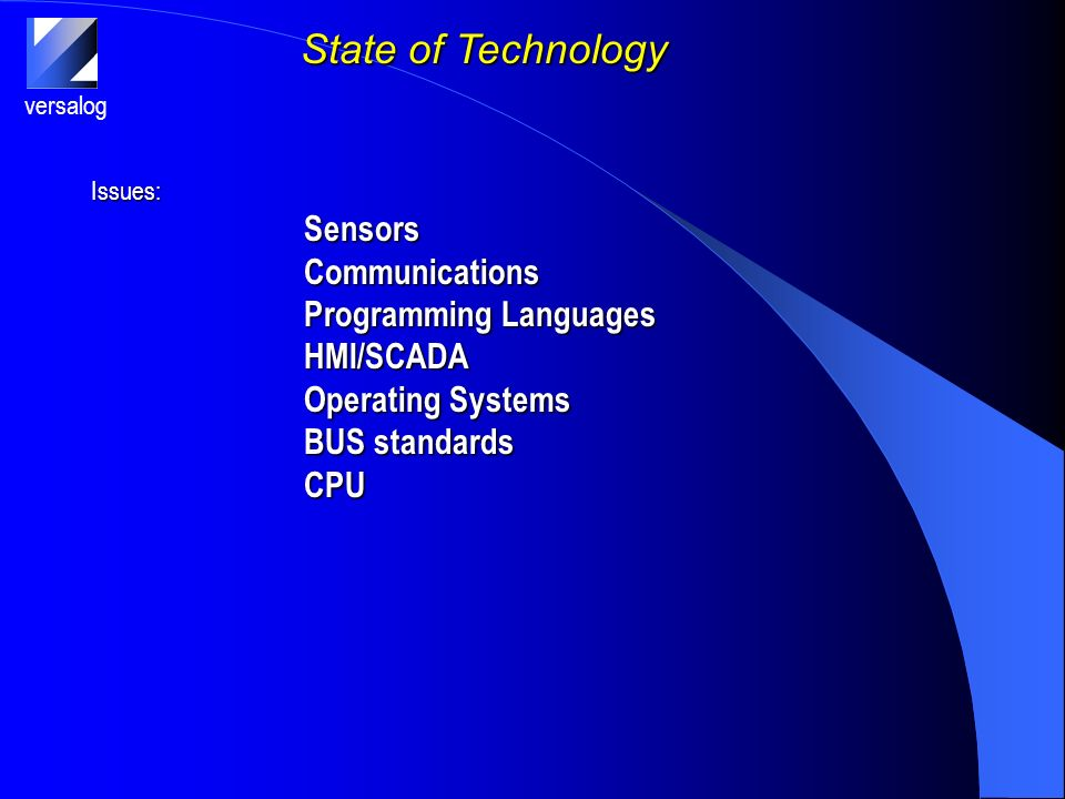 versalog State of Technology Issues:SensorsCommunications Programming Languages HMI/SCADA Operating Systems BUS standards CPU