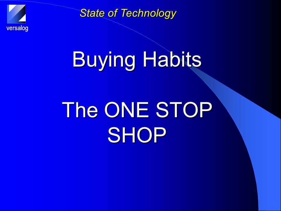 versalog State of Technology Buying Habits The ONE STOP SHOP