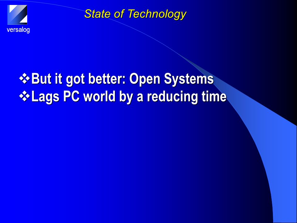 versalog State of Technology But it got better: Open Systems But it got better: Open Systems Lags PC world by a reducing time Lags PC world by a reducing time