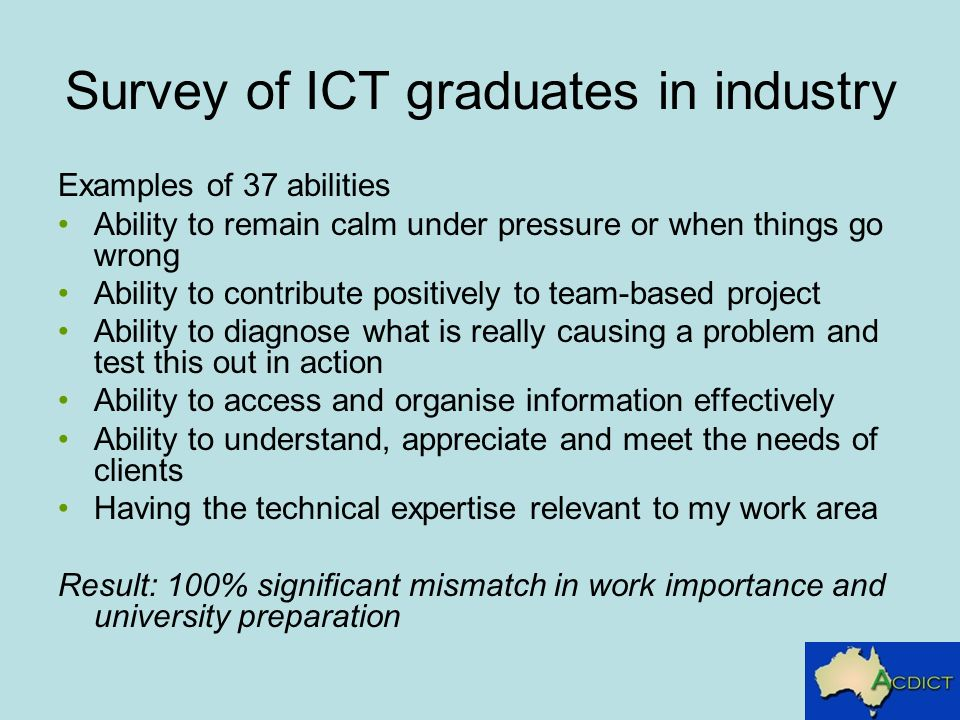 Survey of ICT graduates in industry Examples of 37 abilities Ability to remain calm under pressure or when things go wrong Ability to contribute positively to team-based project Ability to diagnose what is really causing a problem and test this out in action Ability to access and organise information effectively Ability to understand, appreciate and meet the needs of clients Having the technical expertise relevant to my work area Result: 100% significant mismatch in work importance and university preparation