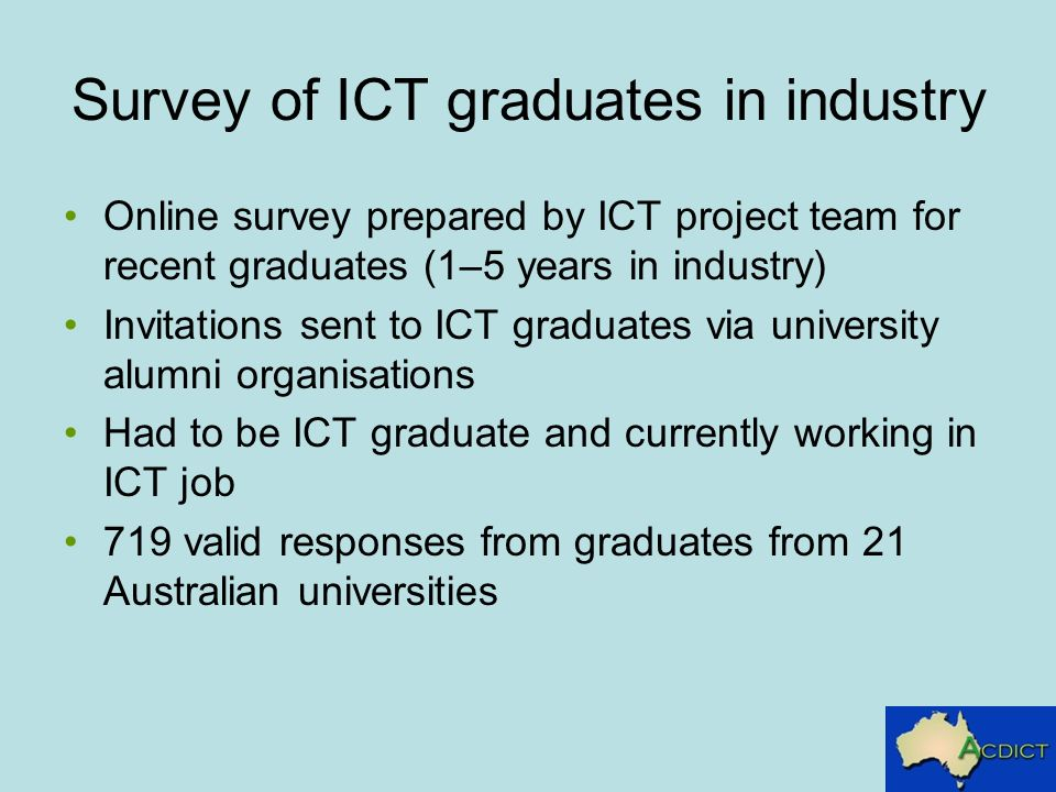 Survey of ICT graduates in industry Online survey prepared by ICT project team for recent graduates (1–5 years in industry) Invitations sent to ICT graduates via university alumni organisations Had to be ICT graduate and currently working in ICT job 719 valid responses from graduates from 21 Australian universities