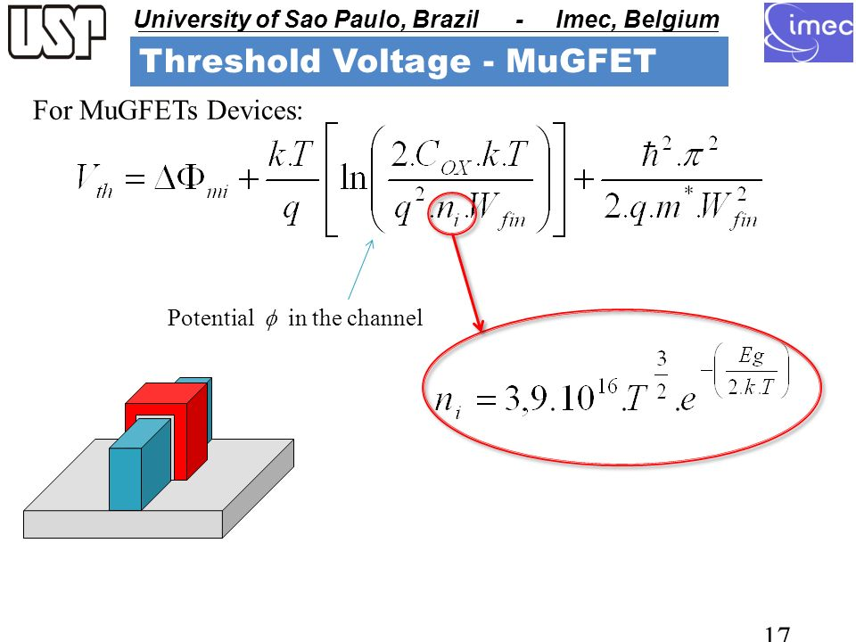 USP - University of Sao Paulo University of Sao Paulo, Brazil - Imec, Belgium USP - University of Sao Paulo 17 For MuGFETs Devices: Threshold Voltage - MuGFET Potential in the channel