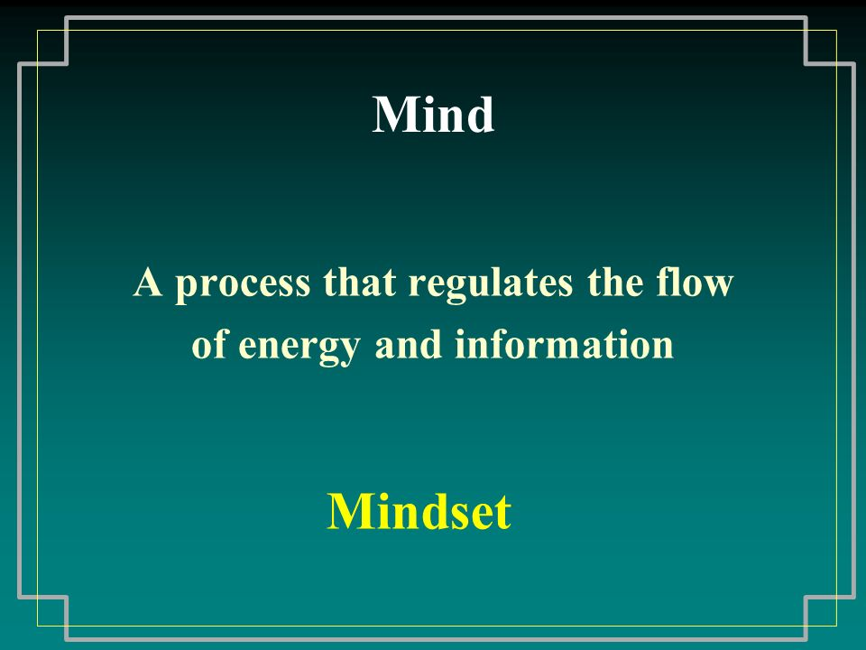 Mind A process that regulates the flow of energy and information Mindset