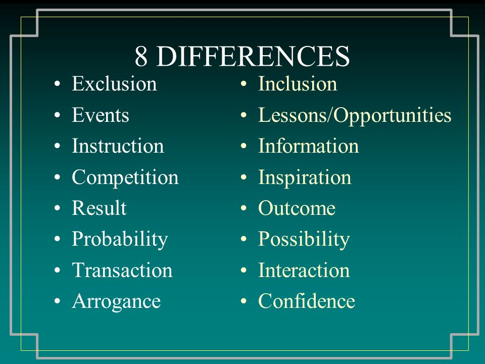 8 DIFFERENCES Exclusion Events Instruction Competition Result Probability Transaction Arrogance Inclusion Lessons/Opportunities Information Inspiration Outcome Possibility Interaction Confidence