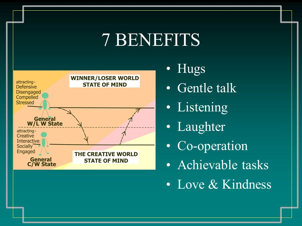 7 BENEFITS Hugs Gentle talk Listening Laughter Co-operation Achievable tasks Love & Kindness