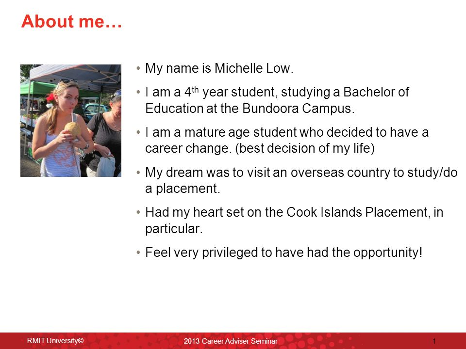 About me… My name is Michelle Low.