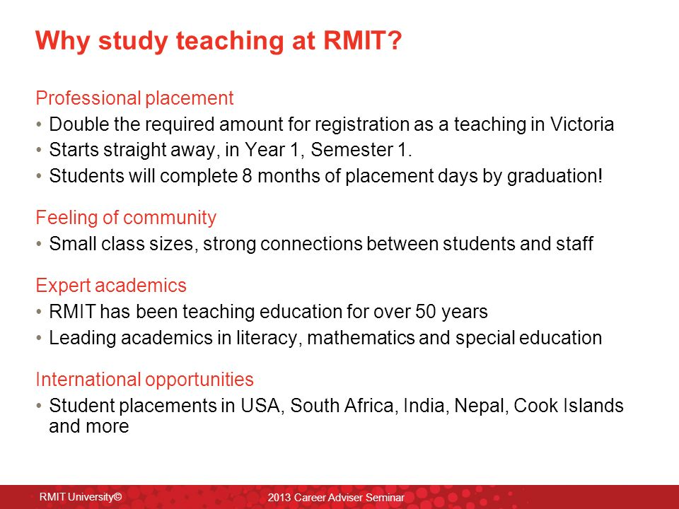 Why study teaching at RMIT.