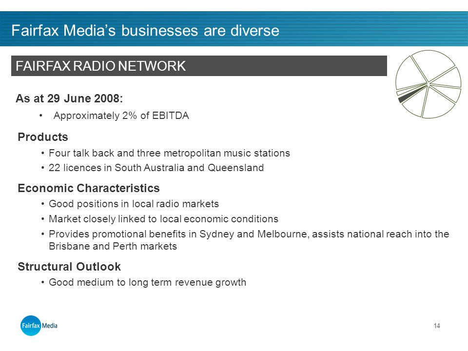 14 Fairfax Medias businesses are diverse As at 29 June 2008: Approximately 2% of EBITDA FAIRFAX RADIO NETWORK Products Four talk back and three metropolitan music stations 22 licences in South Australia and Queensland Economic Characteristics Good positions in local radio markets Market closely linked to local economic conditions Provides promotional benefits in Sydney and Melbourne, assists national reach into the Brisbane and Perth markets Structural Outlook Good medium to long term revenue growth