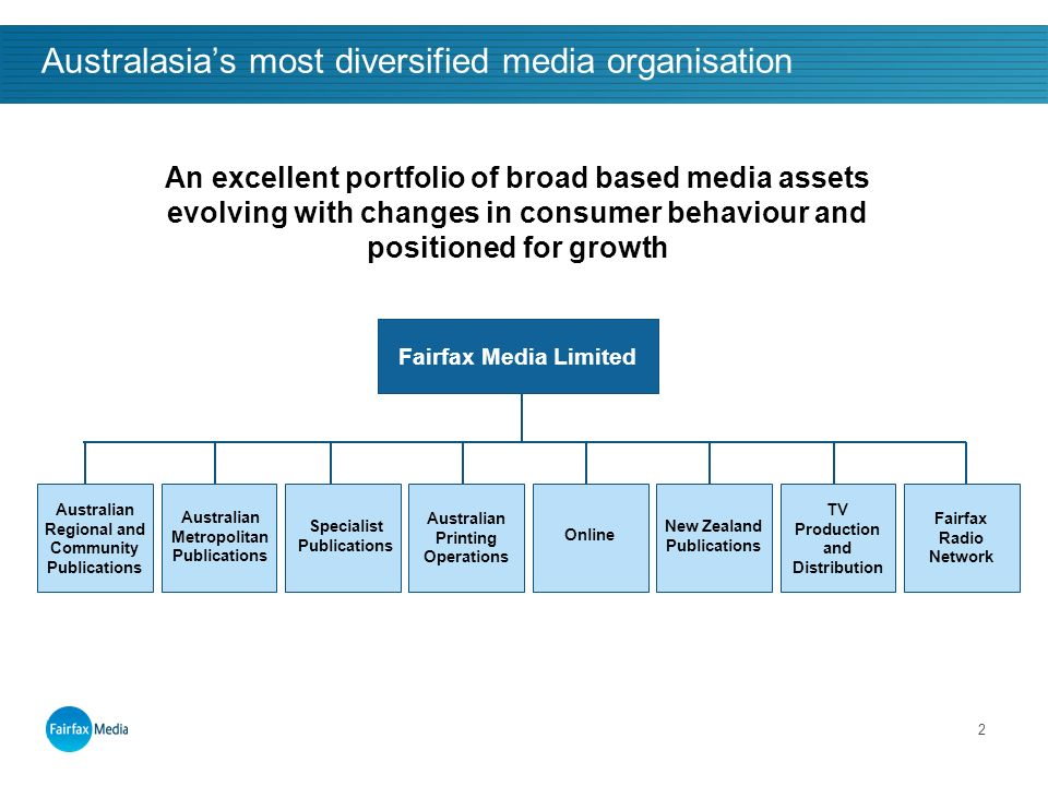 2 Australasias most diversified media organisation Fairfax Media Limited Specialist Publications Australian Printing Operations New Zealand Publications Fairfax Radio Network TV Production and Distribution Online Australian Metropolitan Publications Australian Regional and Community Publications An excellent portfolio of broad based media assets evolving with changes in consumer behaviour and positioned for growth