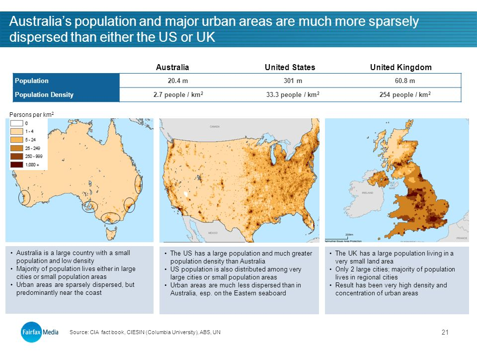 21 Australias population and major urban areas are much more sparsely dispersed than either the US or UK Population20.4 m301 m60.8 m Population Density2.7 people / km people / km people / km 2 AustraliaUnited StatesUnited Kingdom Source: CIA fact book, CIESIN (Columbia University), ABS, UN Persons per km 2 Australia is a large country with a small population and low density Majority of population lives either in large cities or small population areas Urban areas are sparsely dispersed, but predominantly near the coast The US has a large population and much greater population density than Australia US population is also distributed among very large cities or small population areas Urban areas are much less dispersed than in Australia, esp.