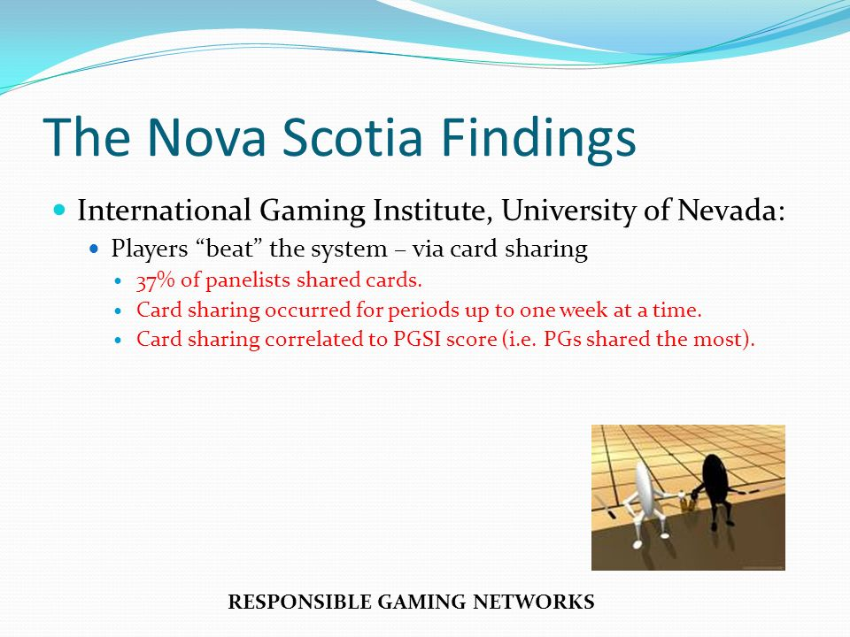 The Nova Scotia Findings International Gaming Institute, University of Nevada: Players beat the system – via card sharing 37% of panelists shared cards.