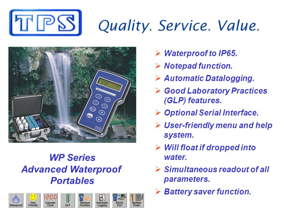 WP Series Advanced Waterproof Portables Waterproof to IP65.