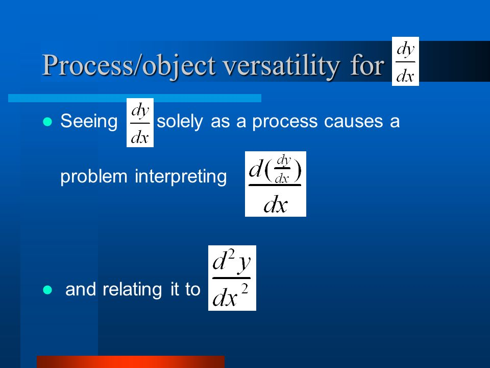 Process/object versatility for Seeing solely as a process causes a problem interpreting and relating it to