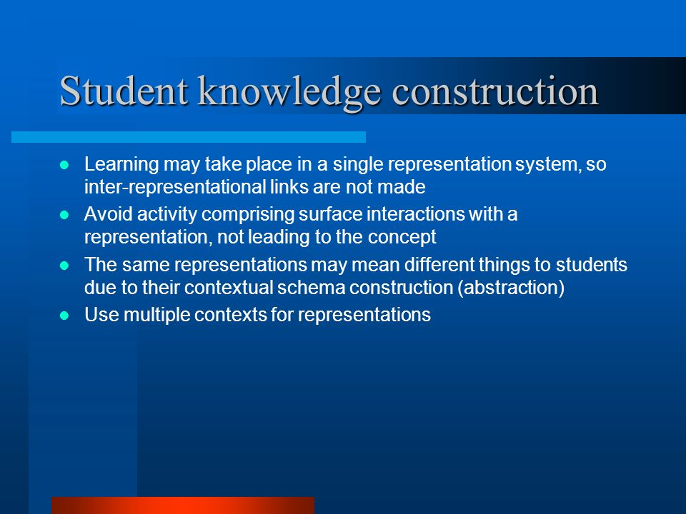 Student knowledge construction Learning may take place in a single representation system, so inter-representational links are not made Avoid activity comprising surface interactions with a representation, not leading to the concept The same representations may mean different things to students due to their contextual schema construction (abstraction) Use multiple contexts for representations