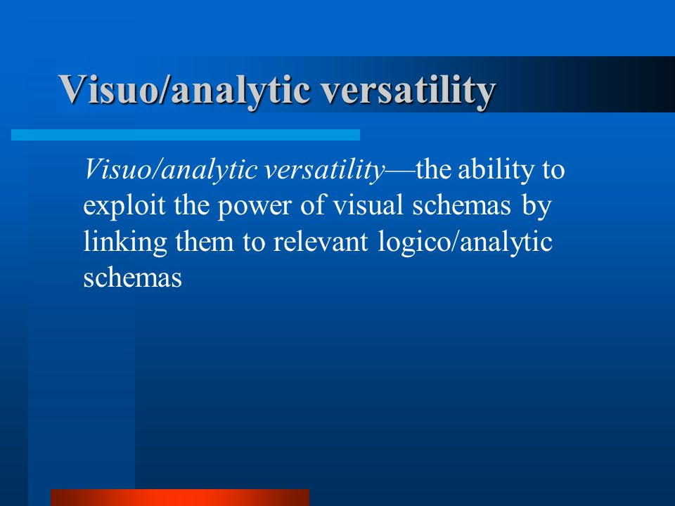 Visuo/analytic versatility Visuo/analytic versatilitythe ability to exploit the power of visual schemas by linking them to relevant logico/analytic schemas