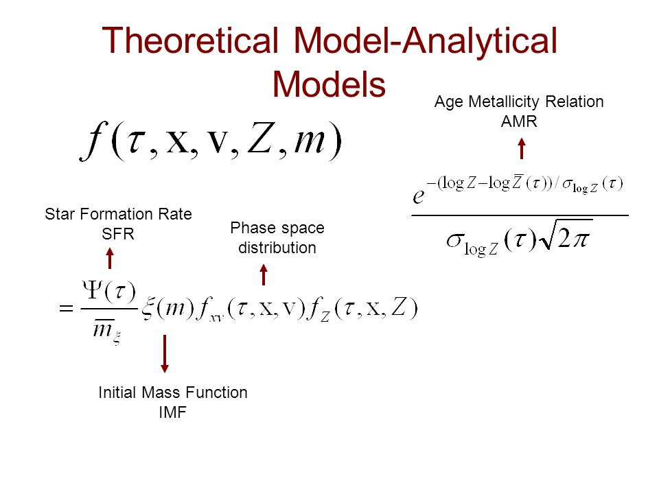 Theoretical Model-Analytical Models Star Formation Rate SFR Initial Mass Function IMF Age Metallicity Relation AMR Phase space distribution