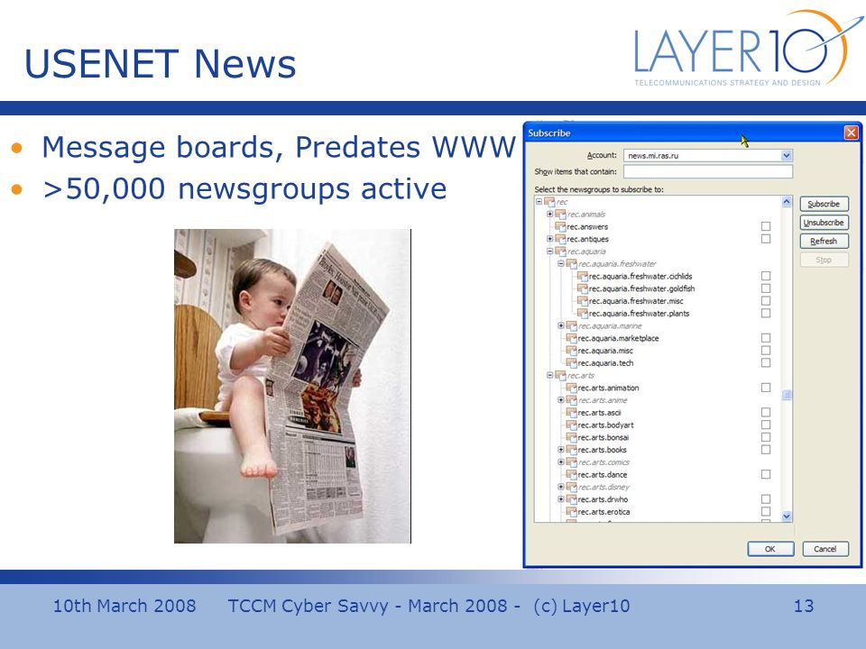 10th March 2008 TCCM Cyber Savvy - March (c) Layer10 13 USENET News Message boards, Predates WWW >50,000 newsgroups active