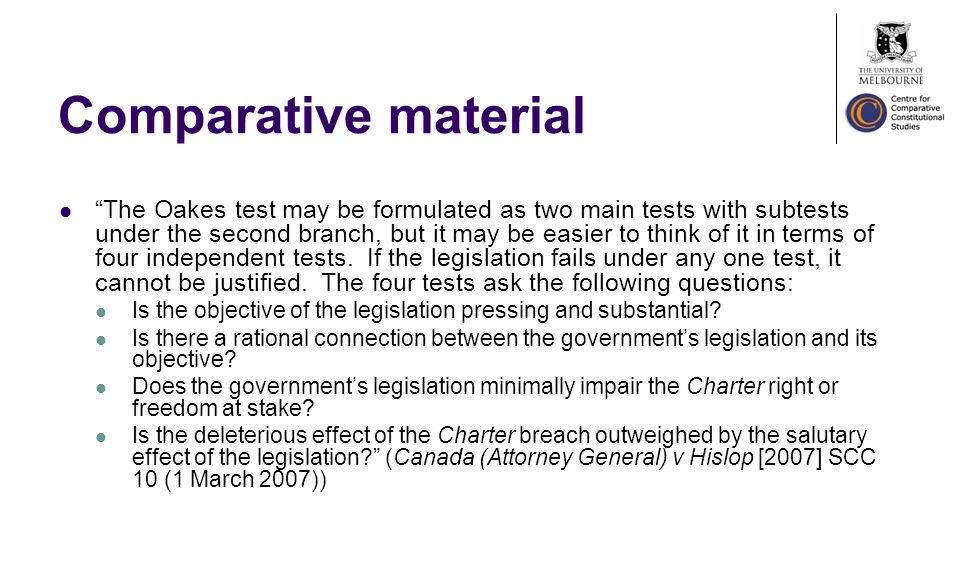 Comparative material The Oakes test may be formulated as two main tests with subtests under the second branch, but it may be easier to think of it in terms of four independent tests.
