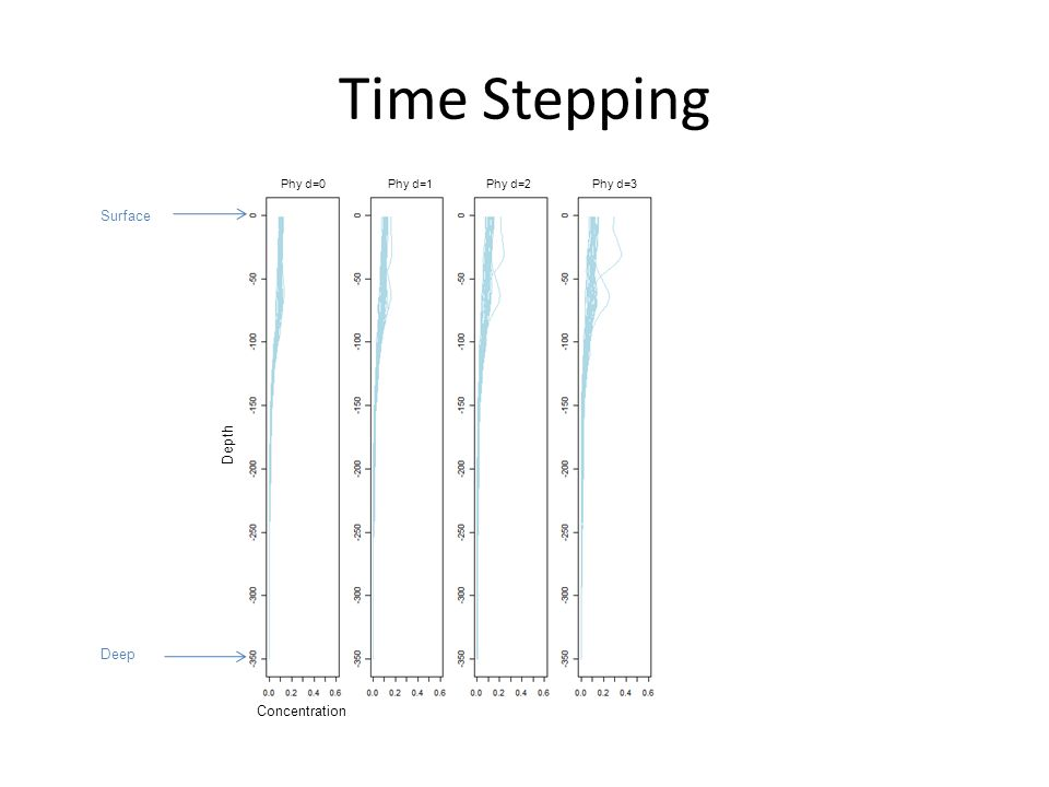 Time Stepping Concentration Depth Phy d=0 Phy d=2Phy d=1Phy d=3 Surface Deep