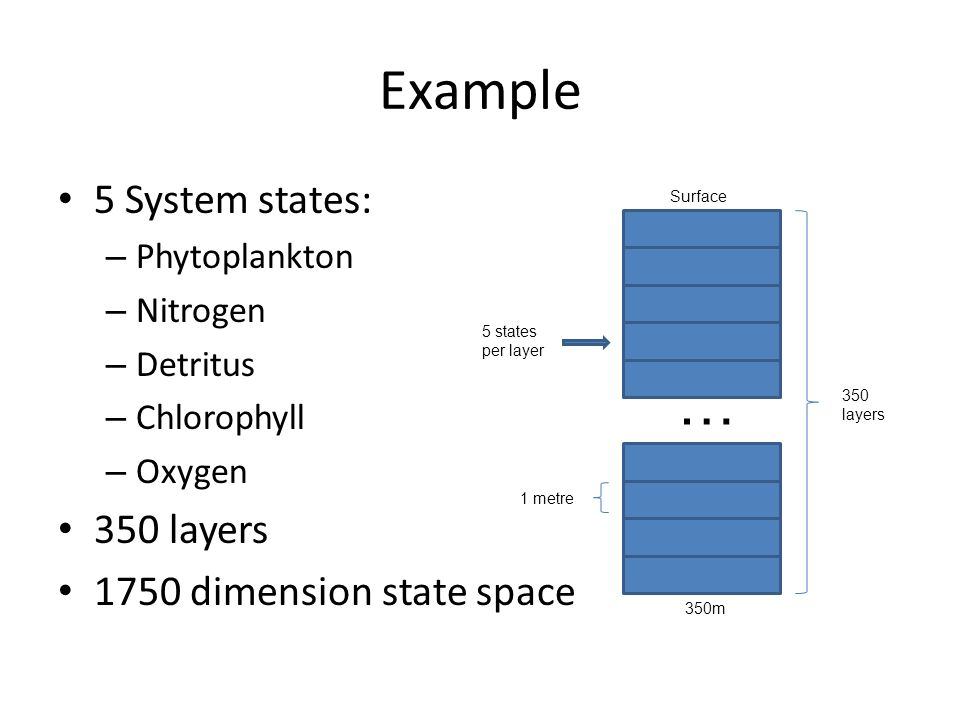 Example 5 System states: – Phytoplankton – Nitrogen – Detritus – Chlorophyll – Oxygen 350 layers 1750 dimension state space 350 layers 5 states per layer 1 metre Surface 350m …
