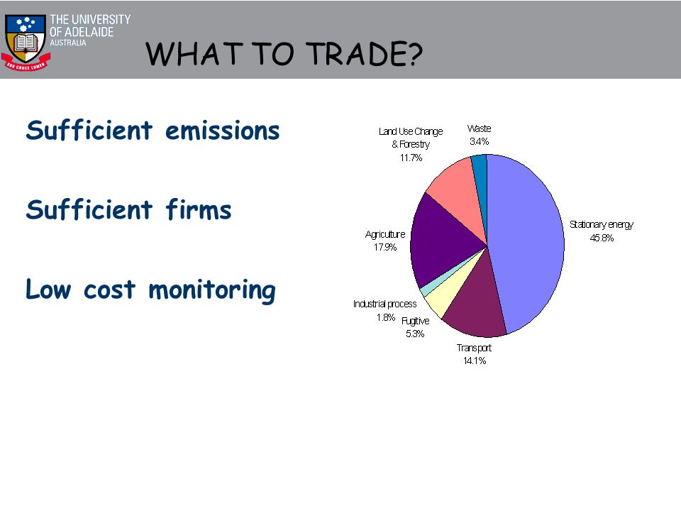 WHAT TO TRADE Sufficient emissions Sufficient firms Low cost monitoring