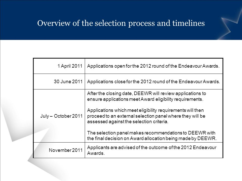 Overview of the selection process and timelines 1 April 2011Applications open for the 2012 round of the Endeavour Awards.