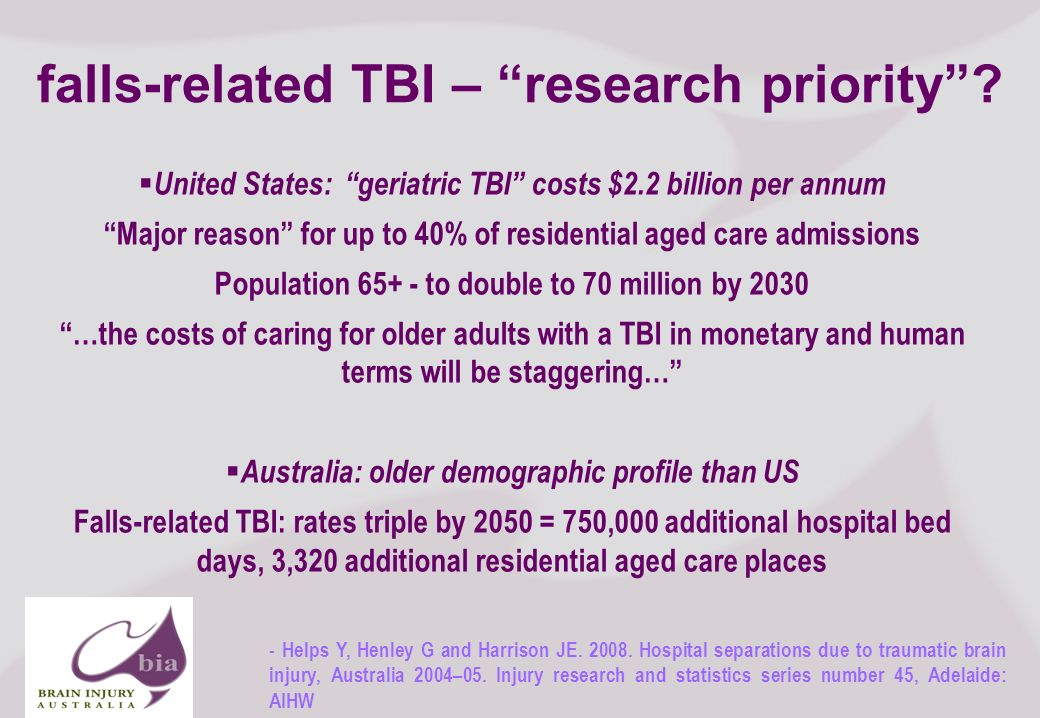 Brain Injury Network of South Australia AGM, 2008 16 Click to edit Master title style Click to edit Master subtitle style 11/16/2013 Brain Injury Network of South Australia AGM, 2008 16 falls-related TBI – research priority.
