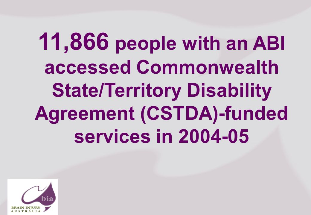 Brain Injury Network of South Australia AGM, 2008 7 Click to edit Master title style Click to edit Master subtitle style 11/16/2013 Brain Injury Network of South Australia AGM, 2008 7 11,866 people with an ABI accessed Commonwealth State/Territory Disability Agreement (CSTDA)-funded services in 2004-05