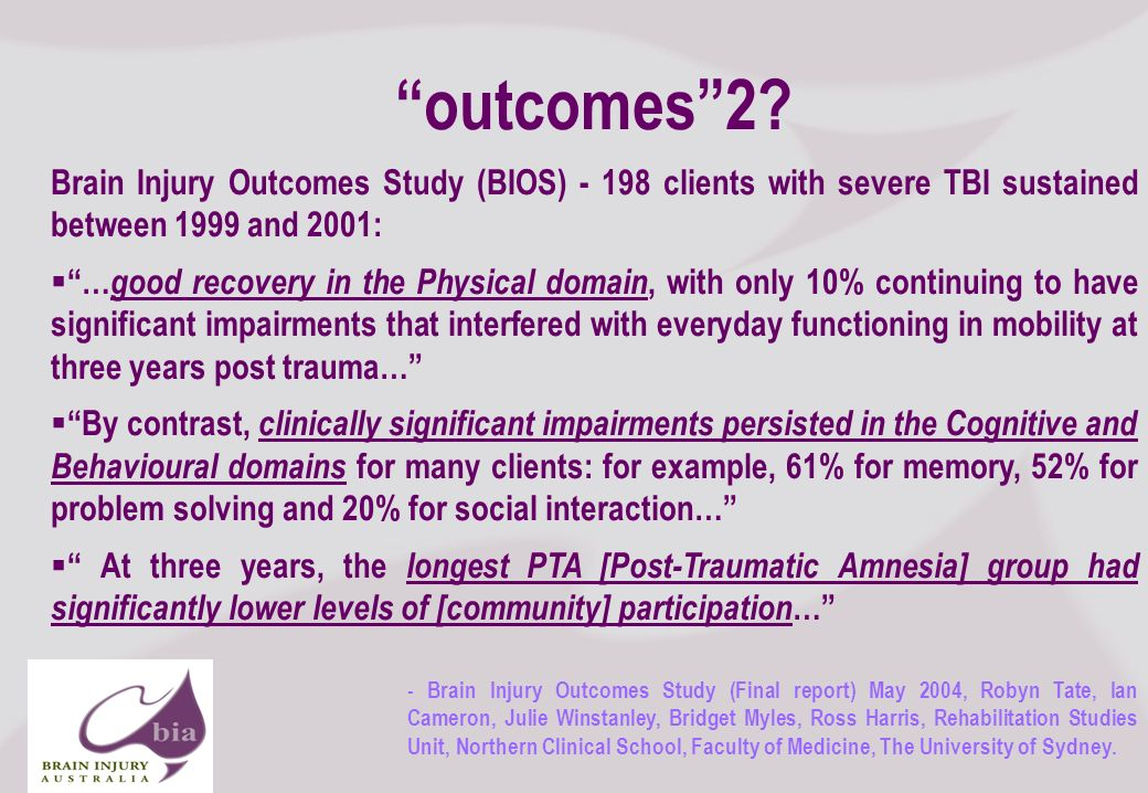 Brain Injury Network of South Australia AGM, 2008 9 Next Steps Summarize any actions required of your audience Summarize any follow up action items required of you Click to edit Master title style Click to edit Master subtitle style 11/16/2013 Brain Injury Network of South Australia AGM, 2008 9 What This Means Add a strong statement that summarizes how you feel or think about this topic Summarize key points you want your audience to remember Click to edit Master title style Click to edit Master subtitle style 11/16/2013 Brain Injury Network of South Australia AGM, 2008 9 outcomes2.