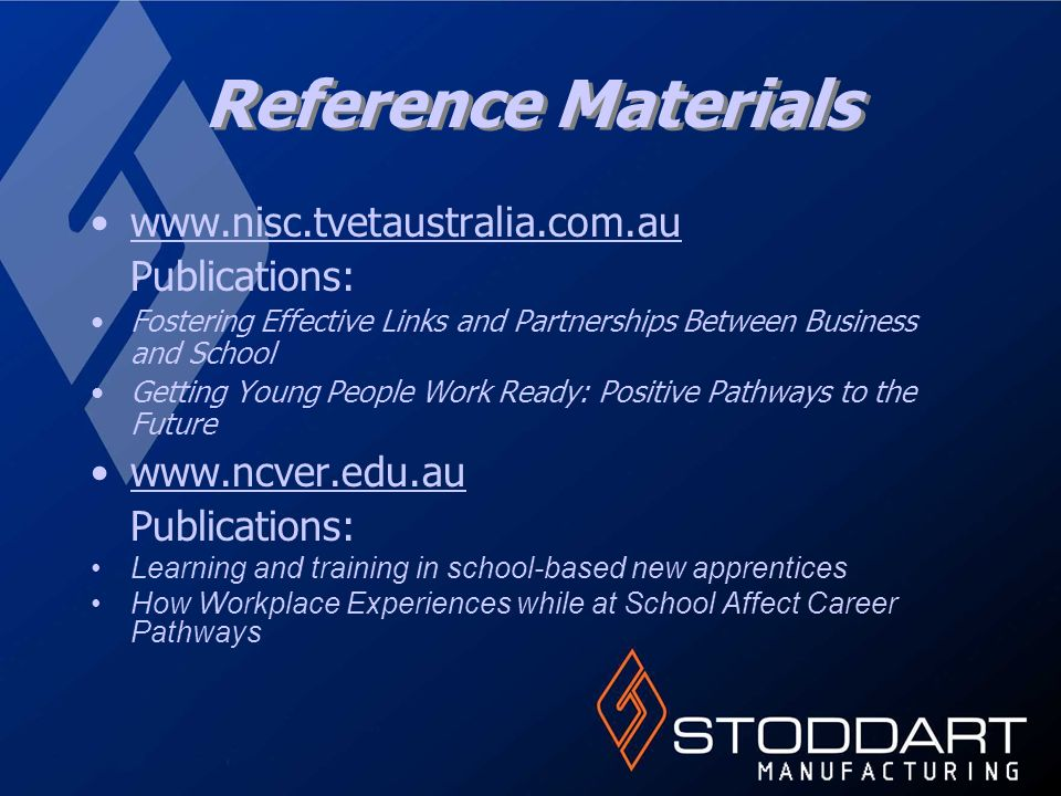 Reference Materials   Publications: Fostering Effective Links and Partnerships Between Business and School Getting Young People Work Ready: Positive Pathways to the Future   Publications: Learning and training in school-based new apprentices How Workplace Experiences while at School Affect Career Pathways
