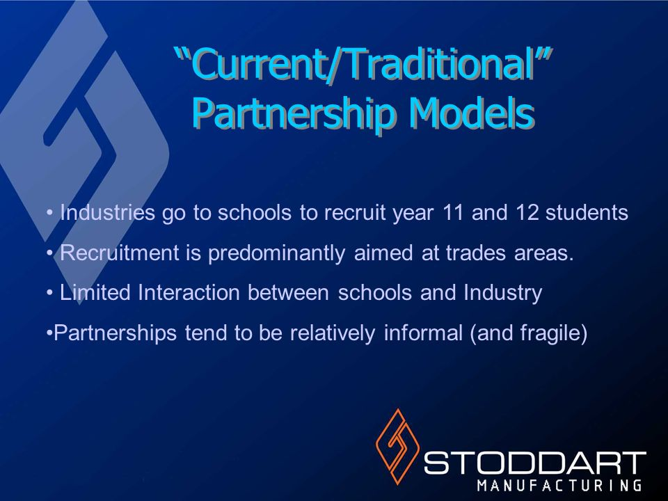 Current/Traditional Partnership Models Industries go to schools to recruit year 11 and 12 students Recruitment is predominantly aimed at trades areas.