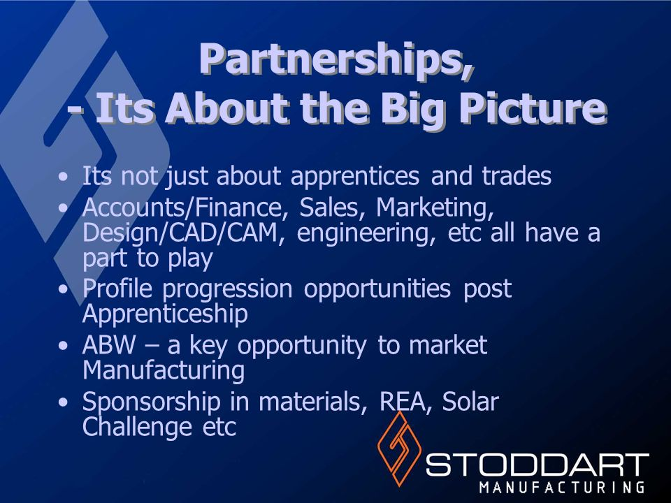 Partnerships, - Its About the Big Picture Its not just about apprentices and trades Accounts/Finance, Sales, Marketing, Design/CAD/CAM, engineering, etc all have a part to play Profile progression opportunities post Apprenticeship ABW – a key opportunity to market Manufacturing Sponsorship in materials, REA, Solar Challenge etc