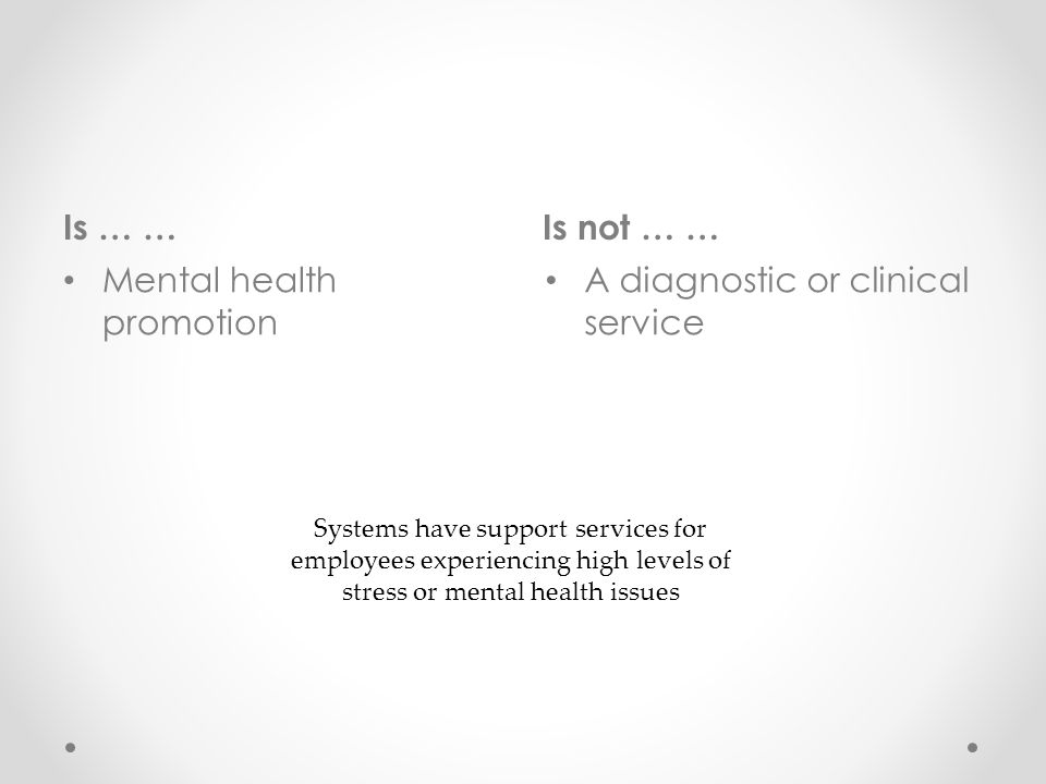 Is … …Is not … … Mental health promotion A diagnostic or clinical service Systems have support services for employees experiencing high levels of stress or mental health issues