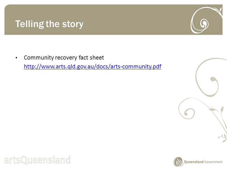 Community recovery fact sheet   Telling the story