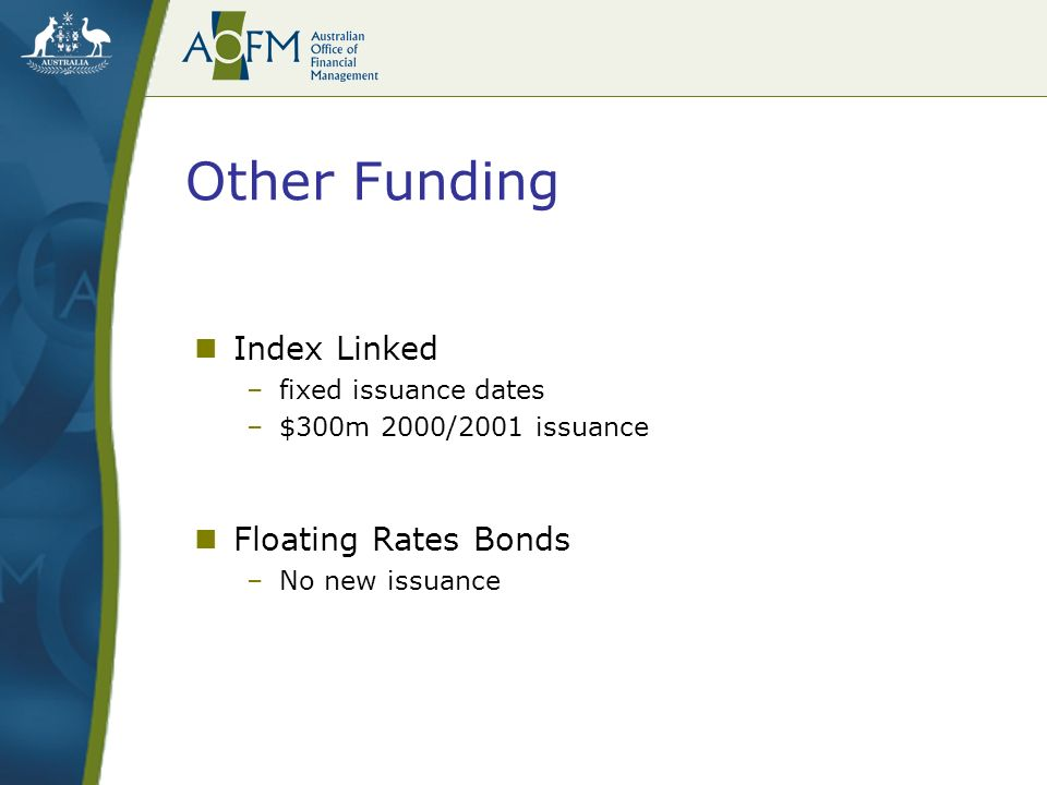 Other Funding Index Linked –fixed issuance dates –$300m 2000/2001 issuance Floating Rates Bonds –No new issuance