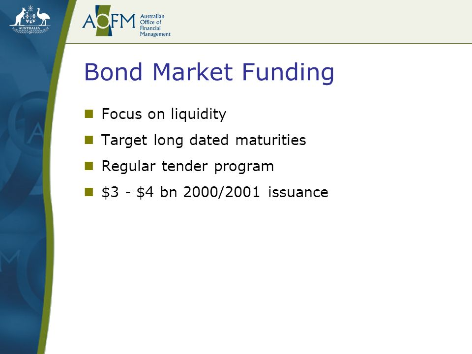 Bond Market Funding Focus on liquidity Target long dated maturities Regular tender program $3 - $4 bn 2000/2001 issuance