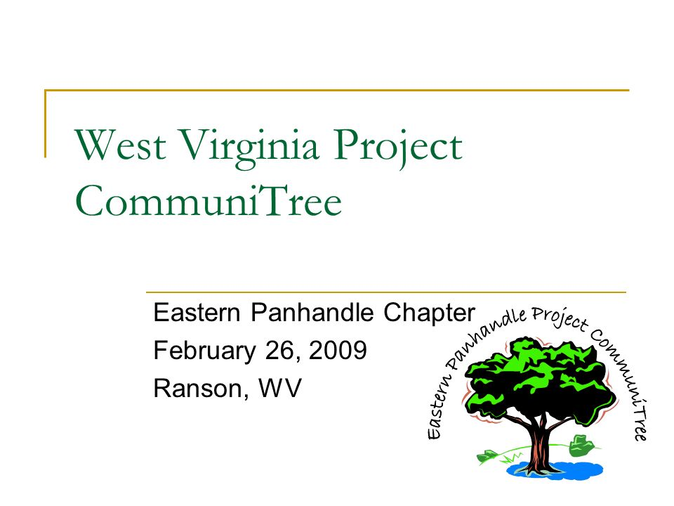 West Virginia Project CommuniTree Eastern Panhandle Chapter February 26, 2009 Ranson, WV