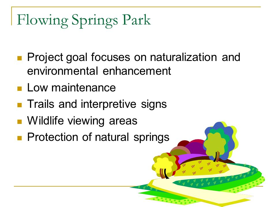 Project goal focuses on naturalization and environmental enhancement Low maintenance Trails and interpretive signs Wildlife viewing areas Protection of natural springs