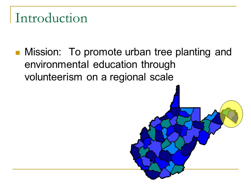 Introduction Mission: To promote urban tree planting and environmental education through volunteerism on a regional scale