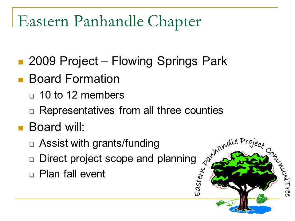 Eastern Panhandle Chapter 2009 Project – Flowing Springs Park Board Formation 10 to 12 members Representatives from all three counties Board will: Assist with grants/funding Direct project scope and planning Plan fall event