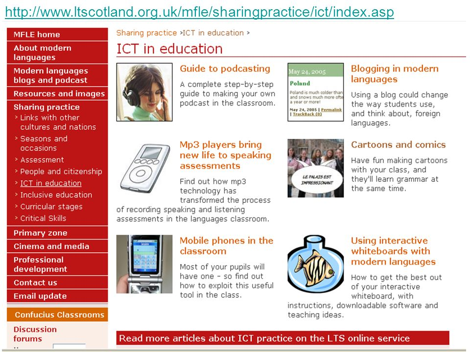 Useful MFL website for ICT tips, training & resources: Modern Foreign Languages Environment (Learning and Teaching Scotland)   Useful podcasts: SSL4YOU (Español Segunda Lengua para Todos, Teresa Sanchez)   Notes in Spanish Inspired Beginners (Ben Curtis & Marina Diez) Notes in Spanish Intermediate Notes in Spanish Advanced Interesting bloggers: