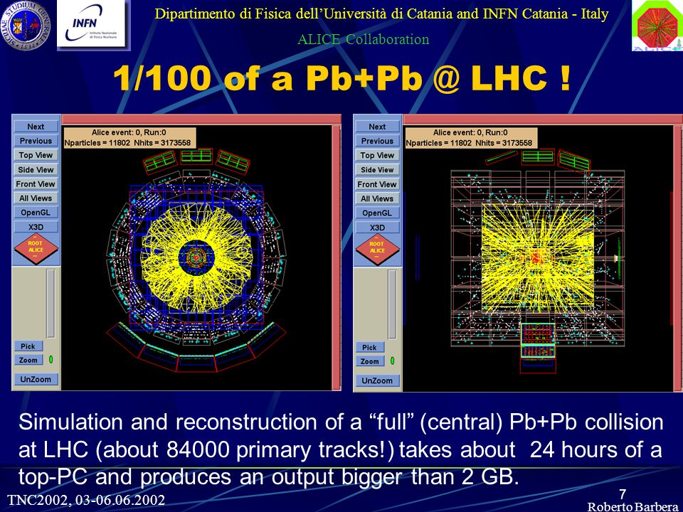 7 Roberto Barbera Dipartimento di Fisica dellUniversità di Catania and INFN Catania - Italy ALICE Collaboration 1/100 of a LHC .